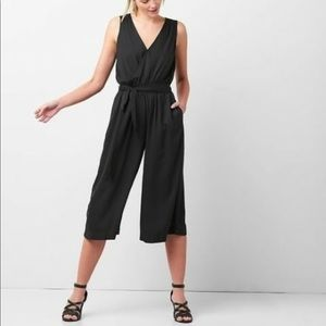 GAP black wrap jumpsuit medium petite NWT $70